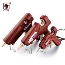 цена на LIJIAN Professional Hot Melt Glue Gun Adjustable Temperature Mini Wireless Battery Copper Nozzle 7mm 11mm Sticks Hand DIY Tool