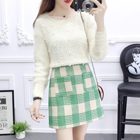 winter pullover top institute wind cute outfit nail bead sweater bust skirt of tall waist cloth lattice grid a line skirt S M L