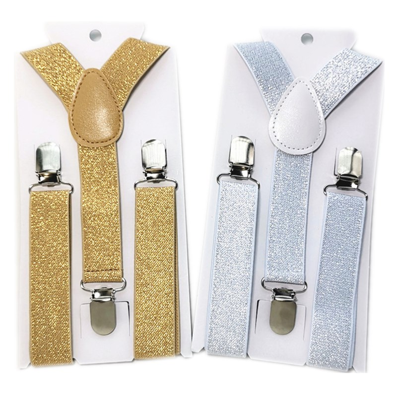 S Size 100Pcs/Lot Wholesale Gold Silver Colors Kids Suspenders Y -Back Adjustable Braces For 1-8 Years Boys And Girls Bd004
