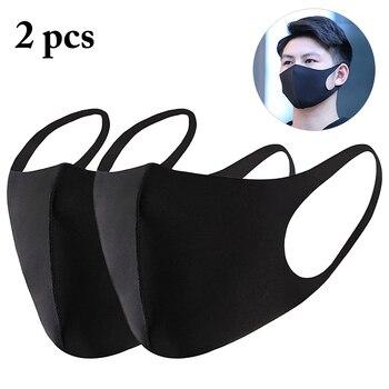 2 stücke Unisex Schwarz Maske Weiche Baumwolle Winter Atmen Maske Anti-Staub Ohrbügel Mund Gesicht Abdeckung Outdoor Reiten dropshipping
