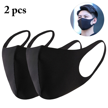 2pcs Unisex Black Mask Soft Cotton Winter Breathing Mask Anti-Dust Earloop Mouth Face Cover Outdoor Riding dropshipping