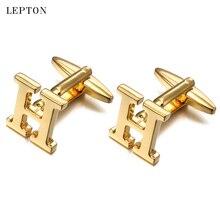 Lepton Hot Letters H Cufflinks For Men High Polishing Alphabet of Letter H CuffLinks Man Shirt Cuffs Cuff links Relojes Gemelos