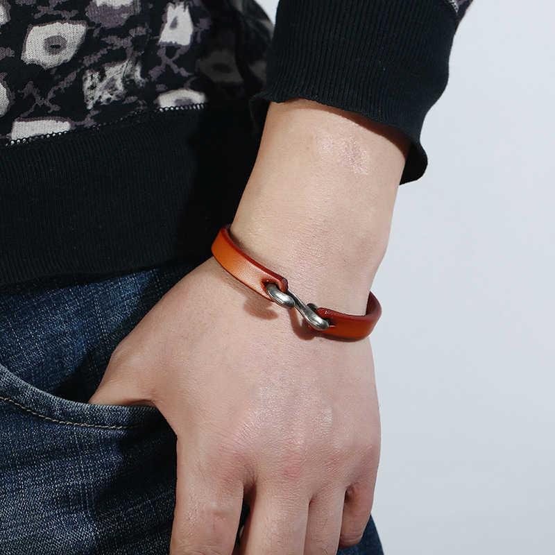 Modna męska bransoletka w stylu Vintage czarny brązowa prawdziwa skóra liny hak bransoletka męska bransoletka bransoletki mężczyzna kobiet miłośników biżuteria