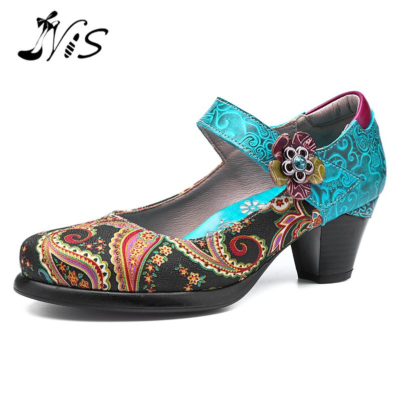 NIS Bohemian Vintage Style Women Pumps Shoes Woman Mary Janes Block High Heels Spring Summer socofy
