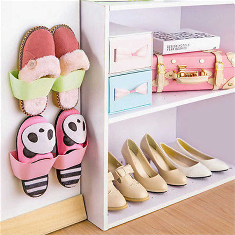 Wall-Mounted Sticky Hanging Shoe Hook Shelf Rack Hanger Holder Storage Organiser