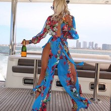 Women Deep V-neck Chiffon Maxi Dress Elegant Full Sleeve Wrap Split Long Evening Party Dress Beach Print Floral Dress nude floral print crossed front deep v neck chiffon top
