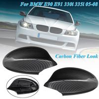 Car ABS Black Carbon FiberPattern Rear View Rearview Side Mirror Cover Cap For BMW E90 E91 330i 335i 2005 2007 51167135097