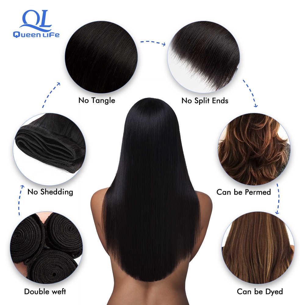 Queenlife волосы бразильские прямые волосы пучки 30 дюймов 32 дюймов пучки Remy человеческие волосы плетение шелковистые длинные волосы для черной женщины