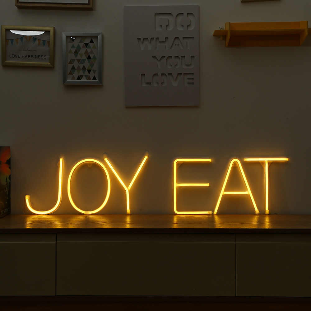 Novo LED Sinal de Luz de Néon Noite 26 Letras Forma AA Alimentado Por Bateria Luz DIY Para Decorar o Quarto Neon Light Para Casa party Club Bar