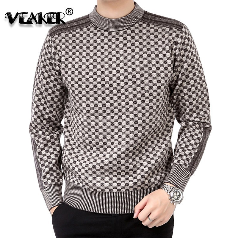 Sweater Mens Winter Thick Warm Cashmere Turtleneck Men Knitted Plaid Sweaters Slim Fit Pullover Pull Homme Classic Wool Knitwear