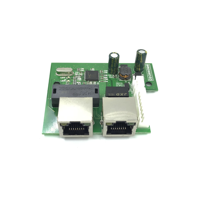 OEM factory direct mini rápido 10/100 mbps 2 port hub switch de rede ethernet lan placa de duas camadas do pwb 2 1 * 8pin cabeça rj45 porto