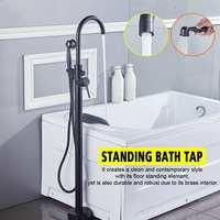 Bathroom Black Bathtub Faucet Floor Mounted Tub Mixer Tap Dual Handle Brass Bathtub Sink Hot Cold Water Faucet