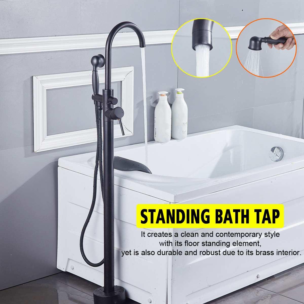Salle de bain noir baignoire robinet plancher monté baignoire mitigeur double poignée en laiton baignoire évier chaud eau froide robinet