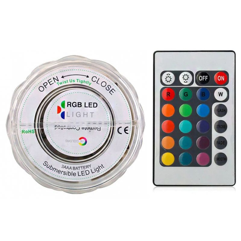 10 LED Remote Control Underwater Light Waterproof RGB Multi-Color Battery Powered Diving Vase Decoration Pool Light