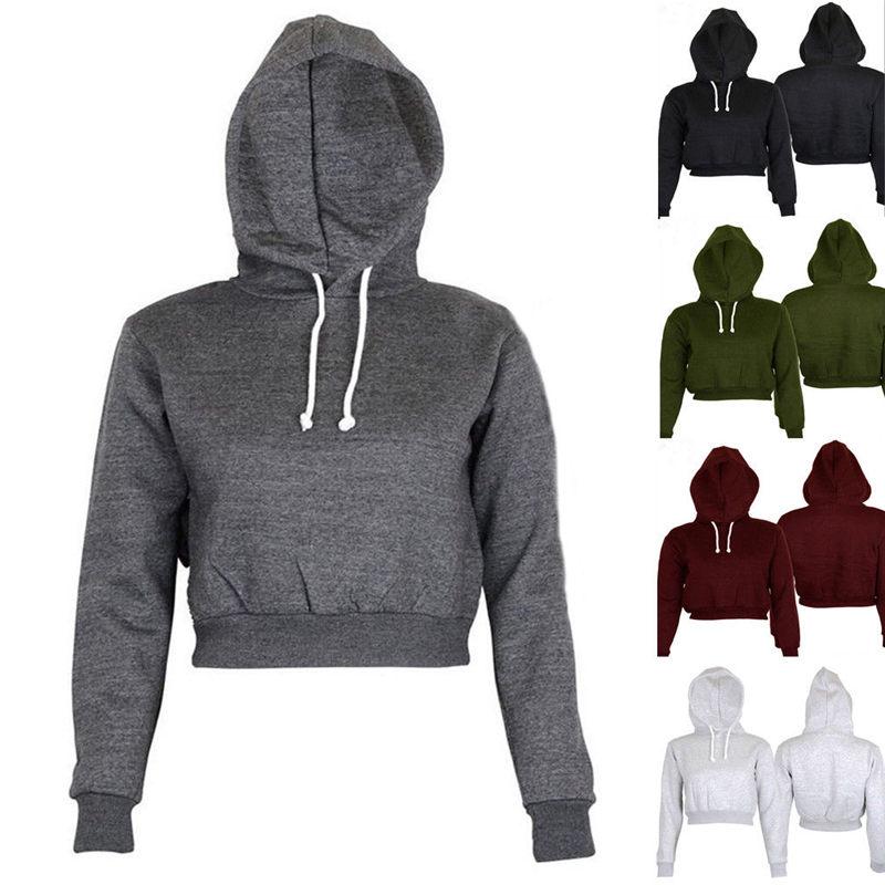 Hirigin Women Plain & Hangover Comfort Short Hoodie Sweatshirt Leisure Solid Color Fashion Female Girls Hooded Drop Ship