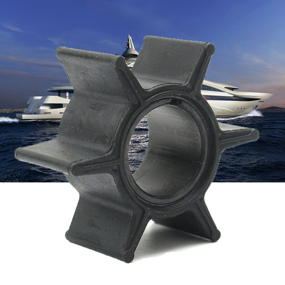 25/30/40HP Outboard Motor Water Pump Impeller For Tohatsu & For Mercury 345-65021-0 18-8923 Rubber Black Diameter 4.4cm 6 Blades