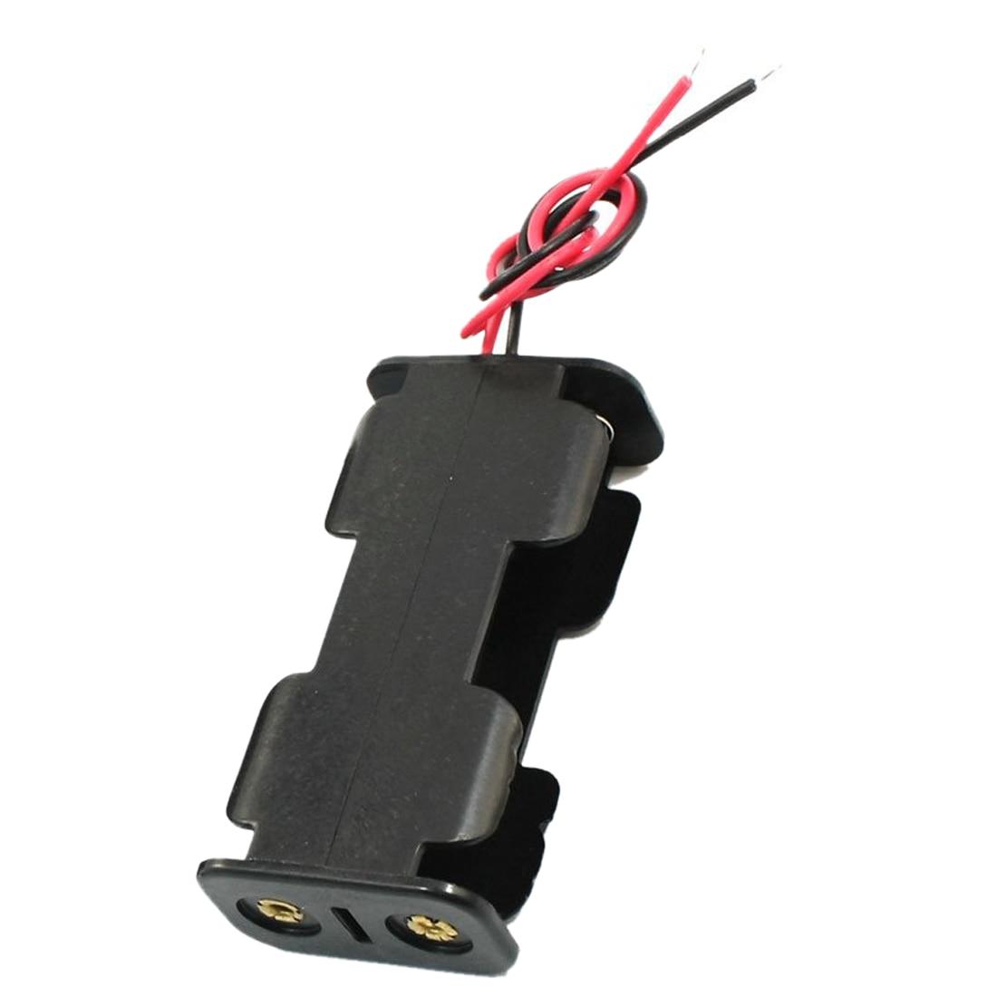2Pcs Double Side Opening Frame 2 x 1.5V AA Battery Case Holder Black