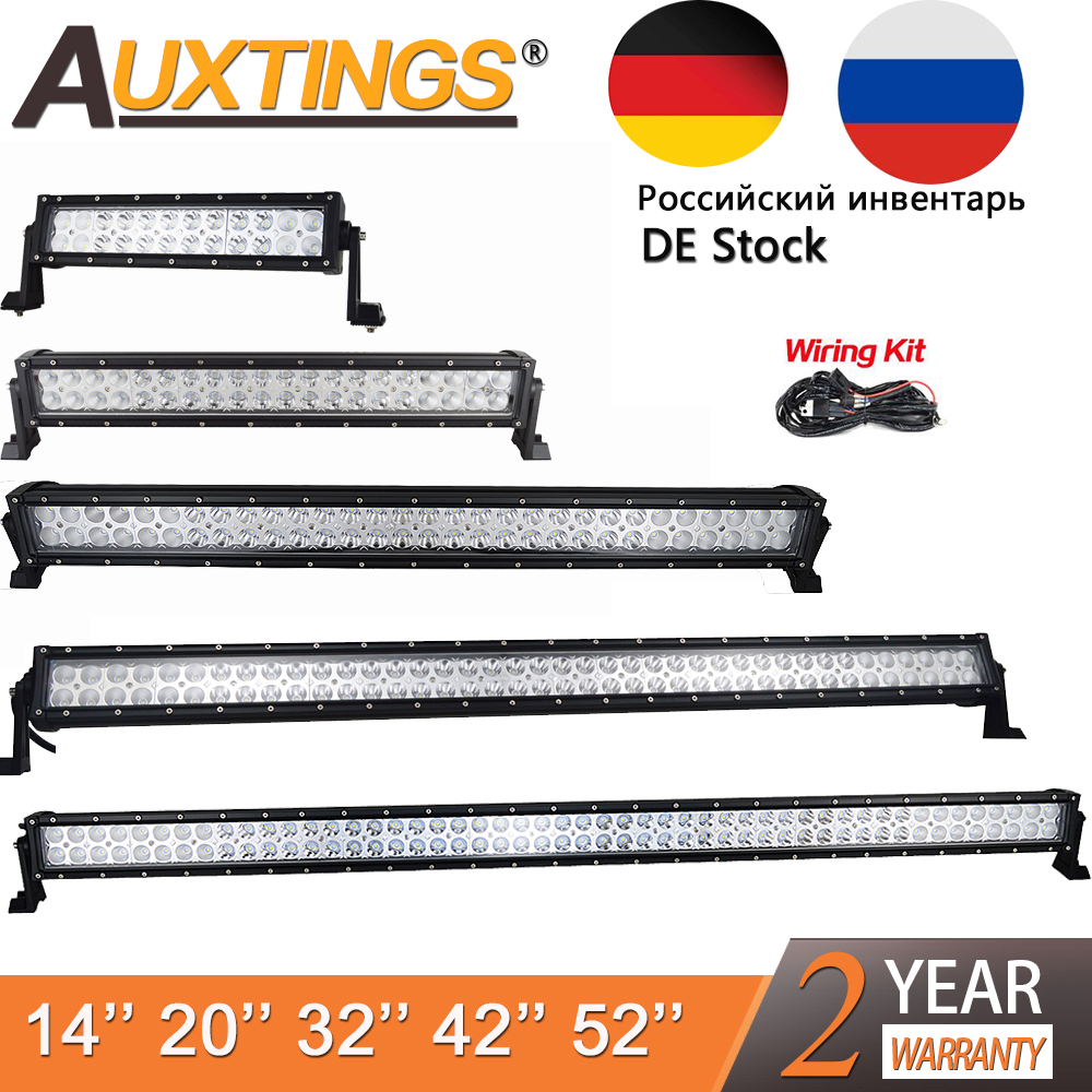 Auxtings 12V 24V Straight Led Work Light Bar 14 22 32 42 52 Inch Offroad Car Led Light Bar Combo 4x4 SUV ATV High Power Dual Row