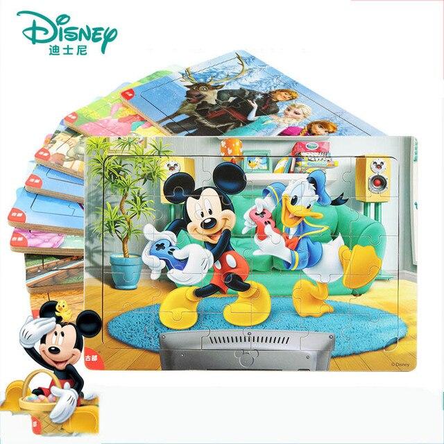 Disney 30 ชิ้น Princess แช่แข็ง Mickey ปริศนากล่องไม้การศึกษาเด็กด้านล่างกล่องของเล่นปริศนาสำหรับเด็ก