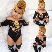 Baby Mädchen Kleidung 3PCS Set Neugeborenen Off Schulter Blume Romper + 2 Beinlinge Socken Outfits Kleidung