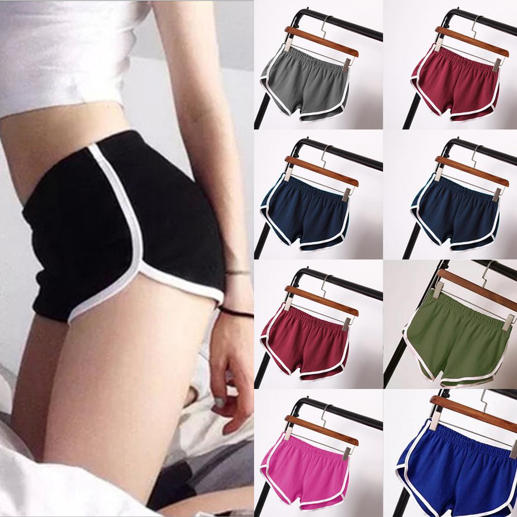 Sports-Shorts Women Workout Gym Yoga Mid-Waist Elastic Loose Thin Solid Summer Casual