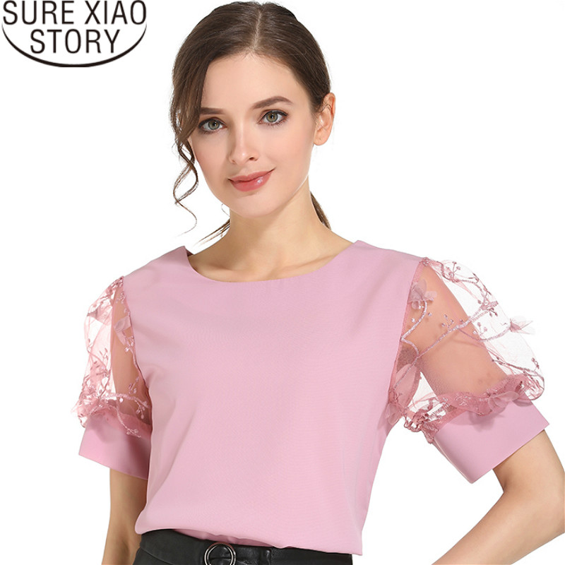 Fashion 2019 womens tops and   blouses   women chiffon   blouse     shirt   short sleeve tops womens clothing women   shirts   blusas 0480 60