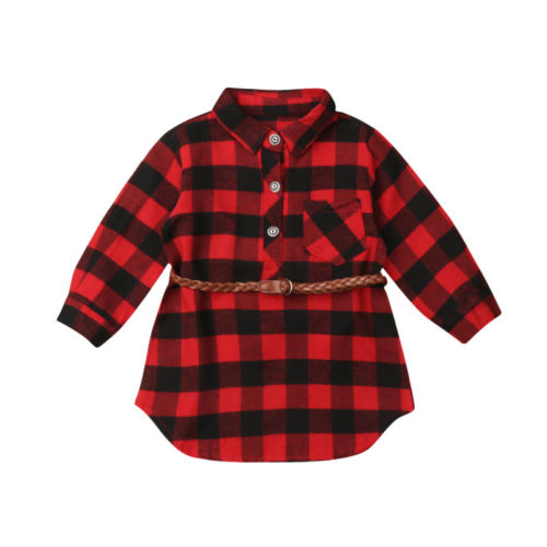 Chic Infant Baby Girls Outfits 2 Pcs Red Long Sleeve Ruffle Shirt Top+Plaid Tutu Skirt Party Casual Clothes 0-5Y