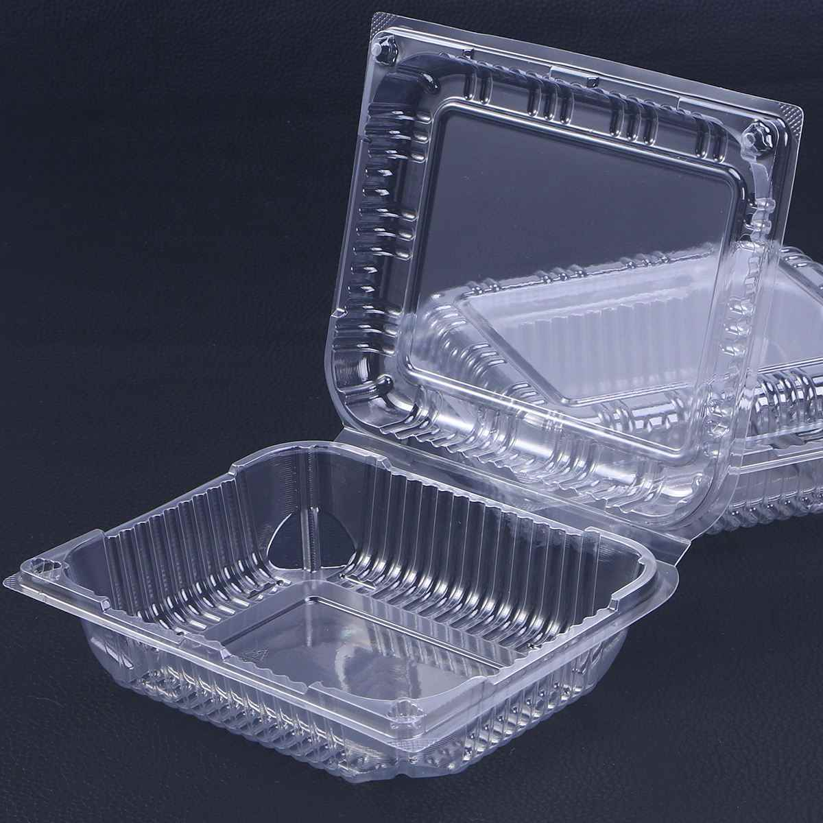 30pcs Disposable Box Transparent Hinged Lid Plastic Takeout Food Containers For Desserts Fruits Vegetables - 17.5x14.3x6cm