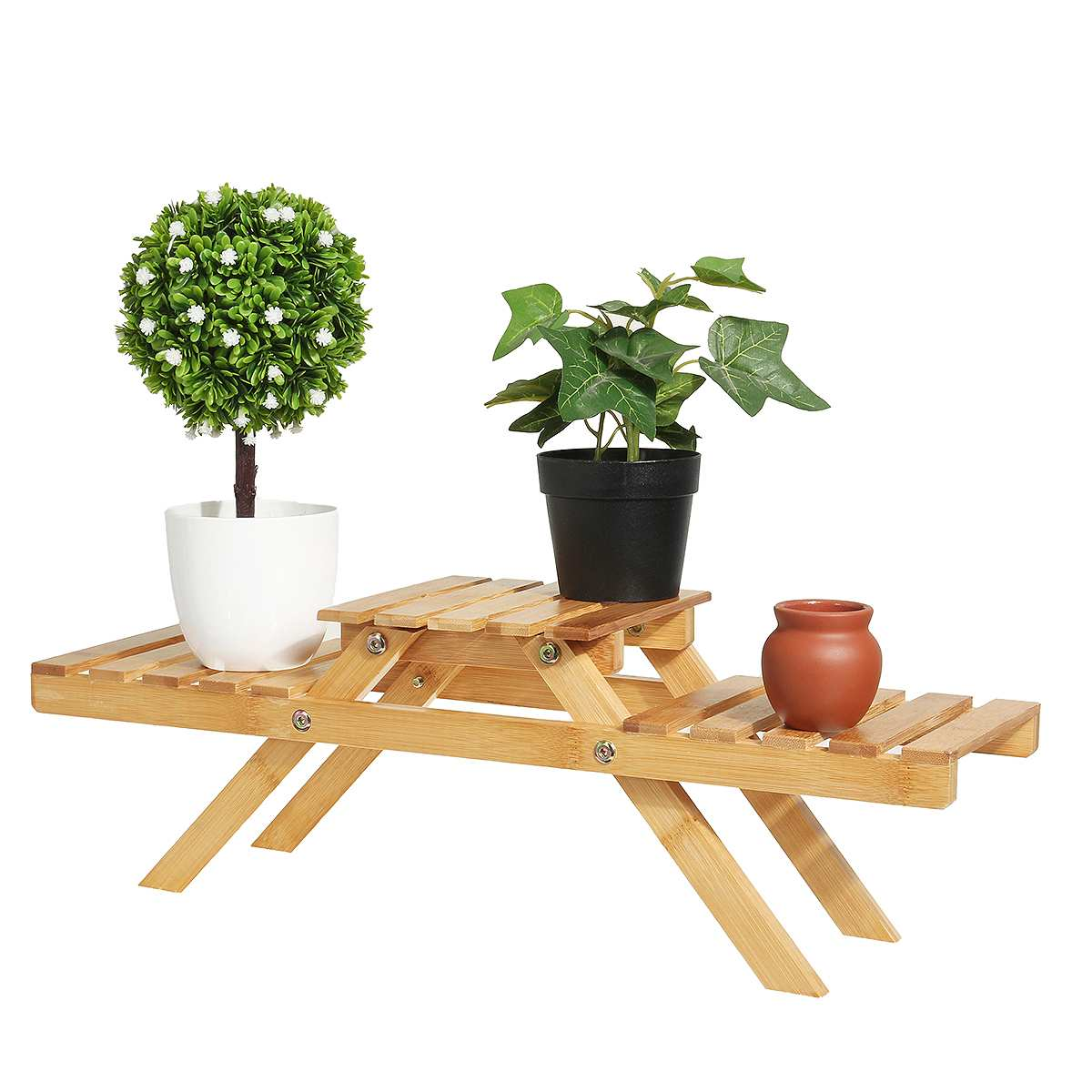 Bamboo Plant Flower Shelf Stand Flower Pot Rack Holder Living Room Table Garden Indoor Outdoor Planter Display Stand Home Decor