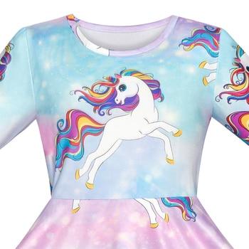 Unicorn Rainbow Long Sleeve Princess Dresses