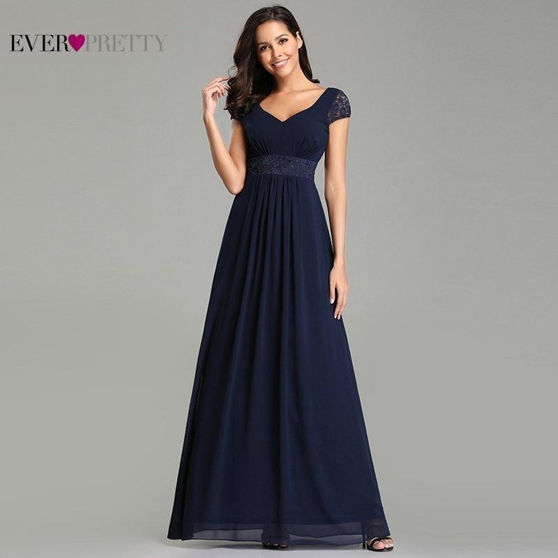 Navy Blue Elegant Bridesmaid Dresses Long Ever Pretty A-Line V-Neck Chiffon Bridesmaid Dresses 2020 Wedding Party Guests Dresses