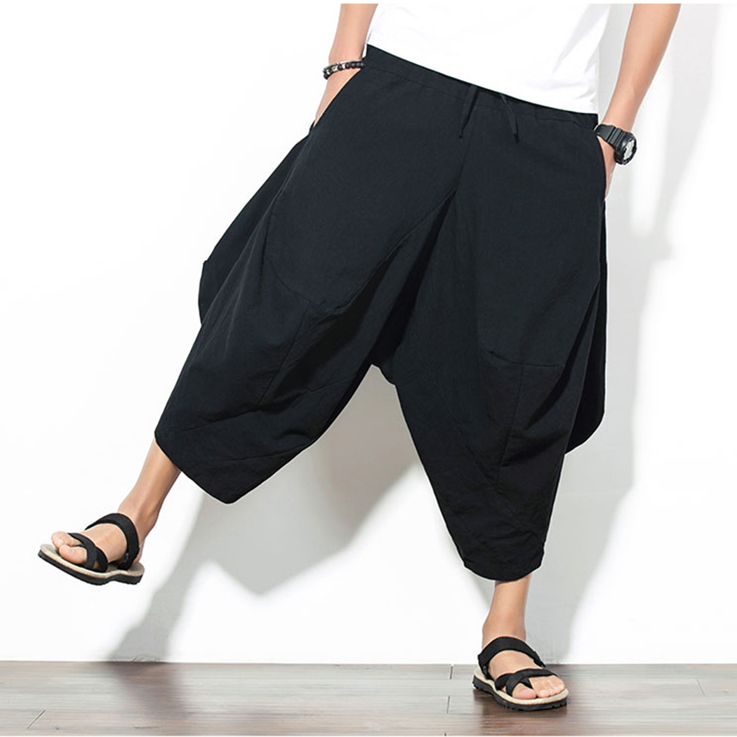 Fashion Pants Trousers Linen Harem Drawstring Chinese-Style Men's Large-Size Cotton And