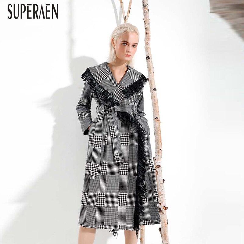 Laine Gland Et Femmes Casual Dames Vêtements Manteau Sauvage Plaid De Automne Superaen Europe 2018 Des Mode Black D'hiver nqwX406fE