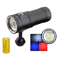 4 mode dimmable Diving Flashlight XM L2 WHITE UV red underwater video light lamp Diving Torch 32650 Rechargeable led Torch