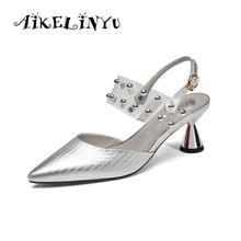 AIKELINYU 2019 Summer Women Pointed Toe High Heel Pumps Sexy Woman Fashion Rivet Decoration Heels Sandals Lady Golden Plus