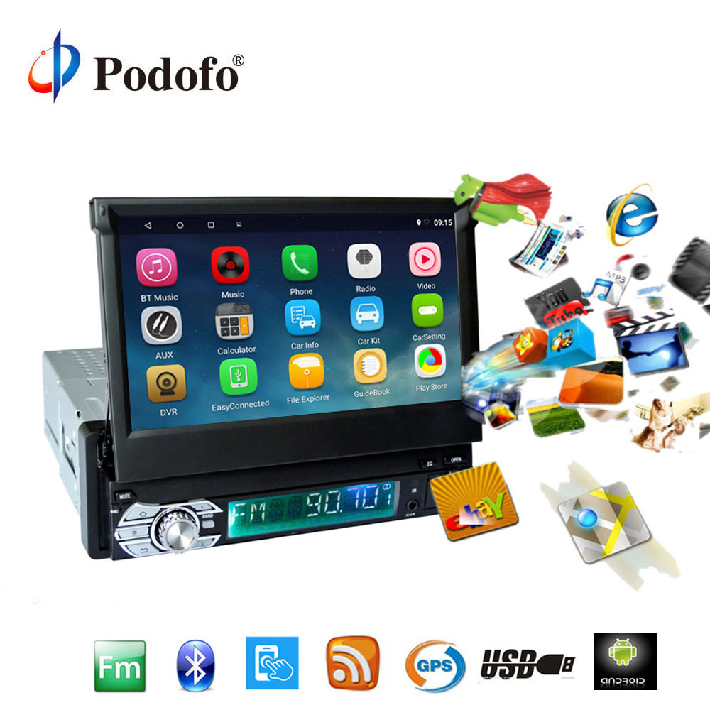 Podofo 1din Android autoradio stéréo 7 ''écran tactile capacitif rétractable GPS/Bluetooth/FM/USB/SD voiture Audio lecteur multimédia