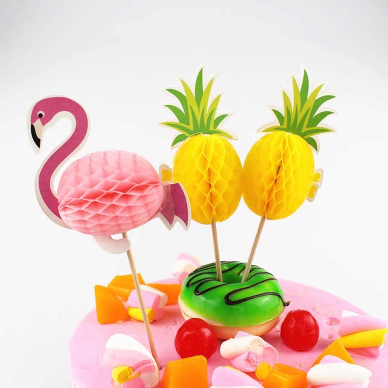 Pastel de hornear de moda Topper de la torta de la boda flamenco caliente DIY fiesta Cupcake insertar tarjetas decoraciones Baby Shower piña cumpleaños