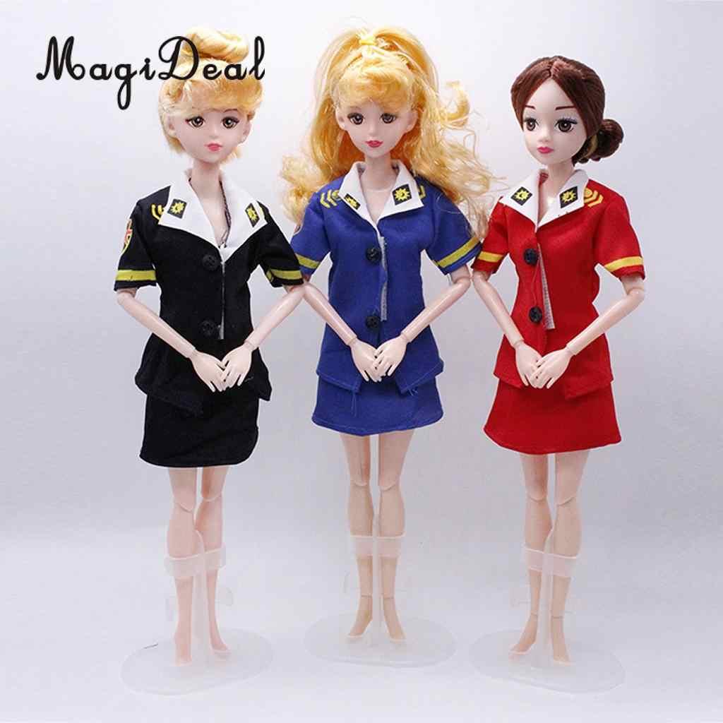 1750a171826 MagiDeal Fashion Air Hostess Clothes Set Pilot Career Uniform for Barbie  Dolls Accessory