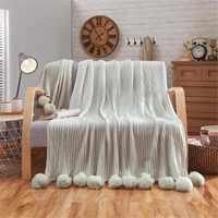 100X150cm Pom Pom Knitted Throw Blanket Cotton Crochet Blanket Stripe Rug Bed Sofa Car Blankets Home Bedroom Decoration 3 Colors