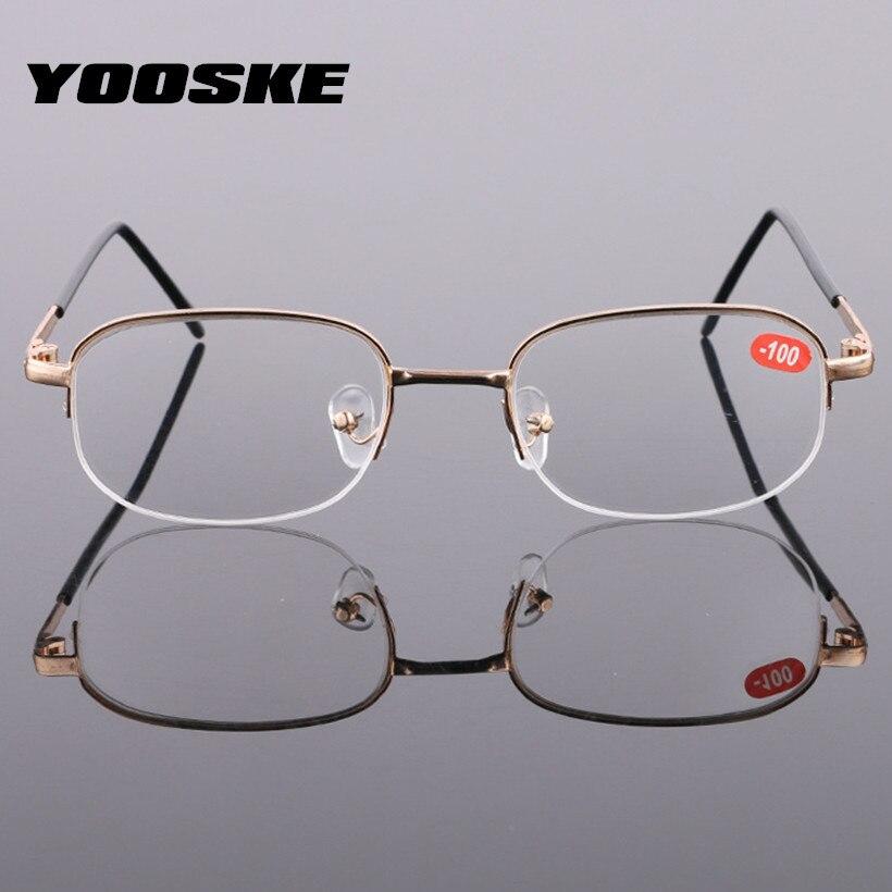 YOOSKE Finished Myopia Glasses Women Short Sighted Eyeglasses Men Gold Frames Spectacle Unisex Eyewear -1.0 -1.5 -2.5 -3.0  -4.0