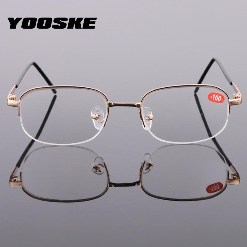 27073db904 YOOSKE terminado miopía gafas mujer corto de vista gafas hombres oro marcos  espectáculo Unisex gafas-
