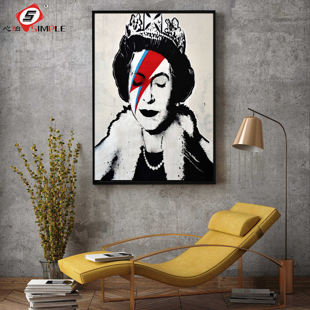 Simple banksy style painting street art poster and prints