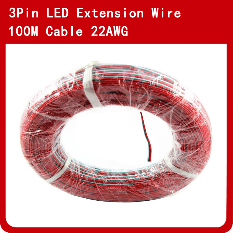 100M <font><b>3pin</b></font> PVC insulated Wire, <font><b>22awg</b></font> Tinned Copper Extension Electric Wire Cable Red/Green/White For LED strip light connecting image