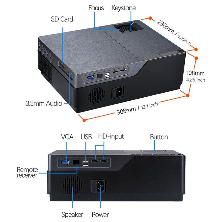 AUN proyector Full HD de 300 pulgadas de Teatro en Casa 1920x1080 P LED proyector soporte AC3. ¡5500 lúmenes! (Opcional Android WIFI) M18 - 6