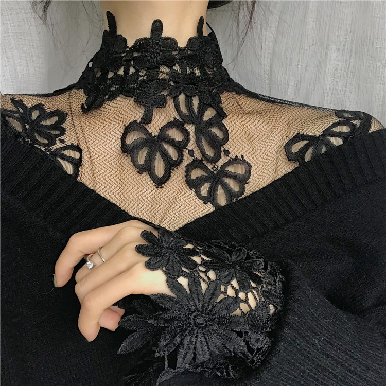 2019 Women Transparent Lace   Blouses     Shirts   Girls Full Sleeve Solid   Shirt   Tee Female Black And White Sexy   Blouse   Tops For Girls