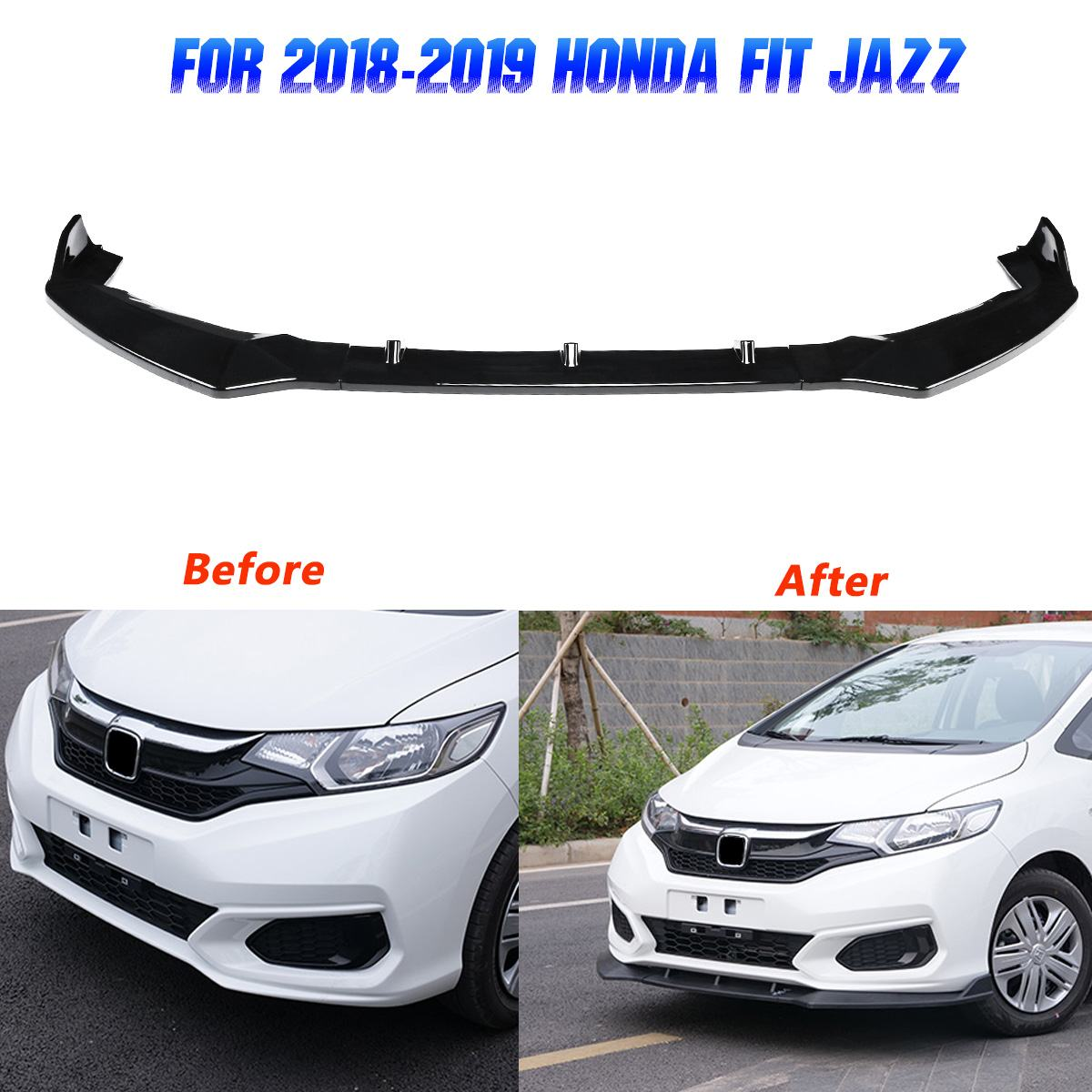 1Set Front Bumper Lip Cover for Honda FIT JAZZ 2018 2019 Gloss Black Scratchproof Exterior Parts ABS Bumpers Trim