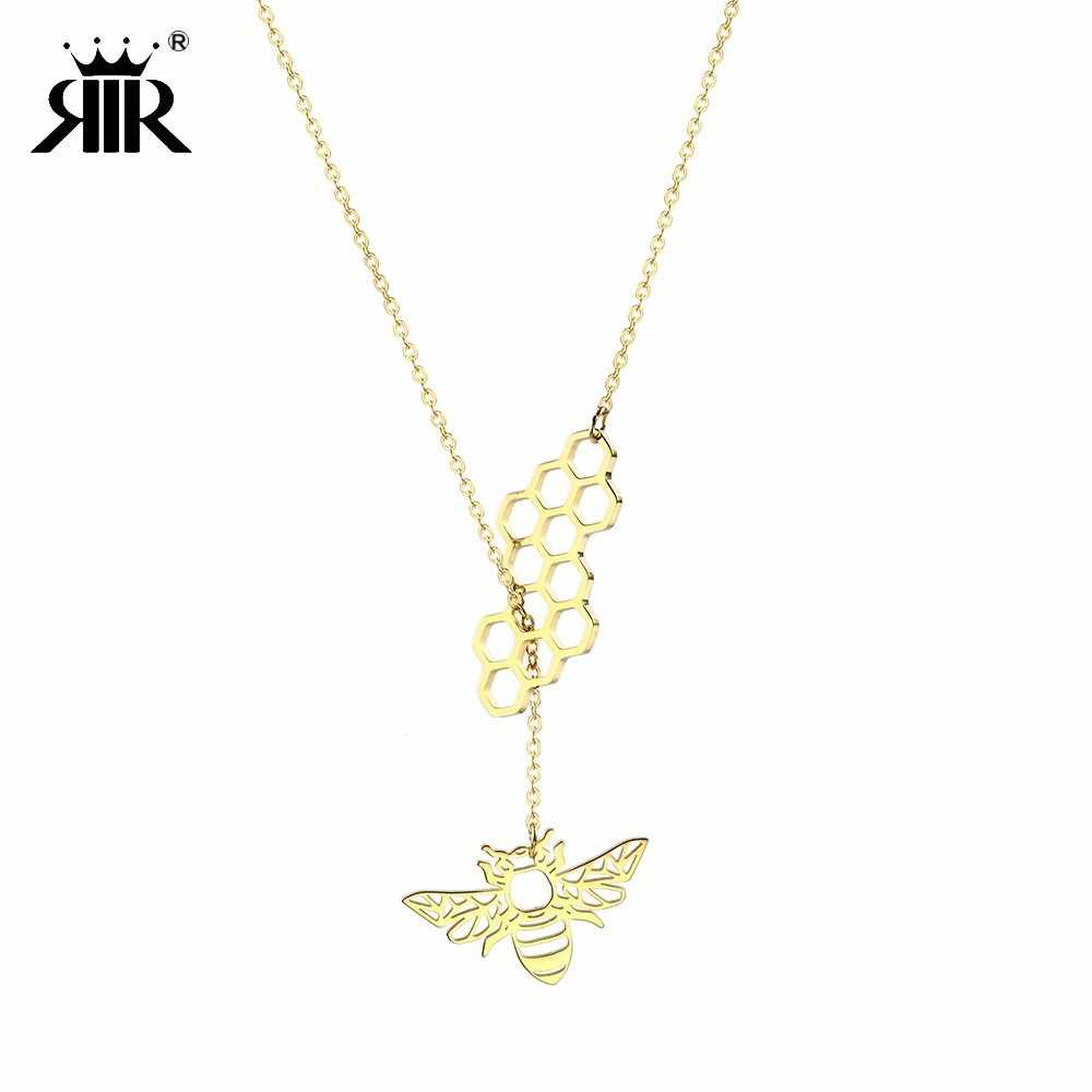 RIR Stainless Steel Cute Jewelry Bee Chain Layered Minimalist Necklace Honeycomb Adjustable Pendant For Charming Bridesmaid Gift