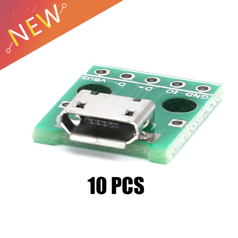 10pcs Micro USB To DIP  Adapter 5pin Female Connector Module Board Panel Female 5-Pin Pinboard B Type PCB 2.54 MM
