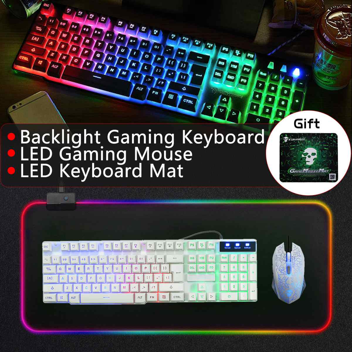 LED filaire arc-en-ciel rétro-éclairage USB clavier de jeu souris Combo illuminé 2400 DPI optique Gamer souris ensembles + RGB tapis de souris