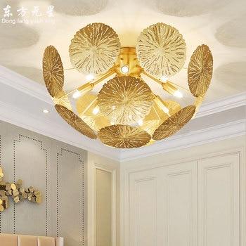 LED plafond lamp interieur verlichting koperen lotusblad licht woonkamer slaapkamer lamp moderne luxe opbouw decoratie